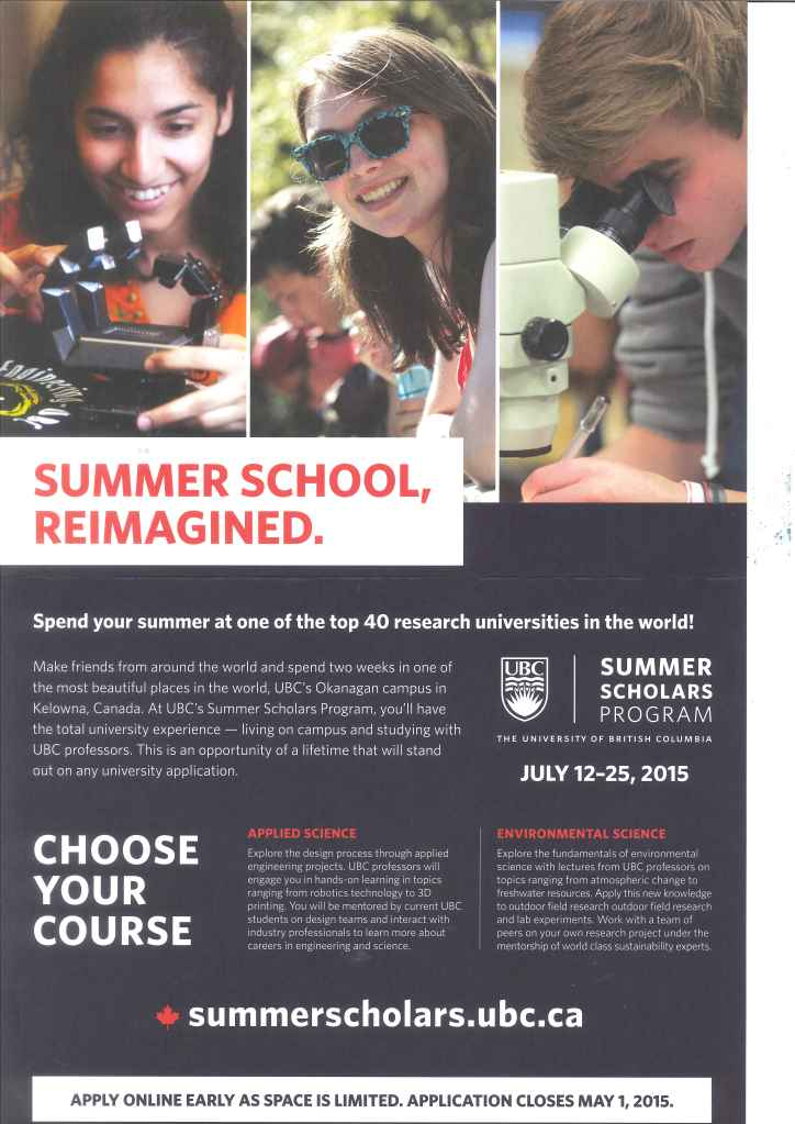 UBC Summer Scholars Program 2015