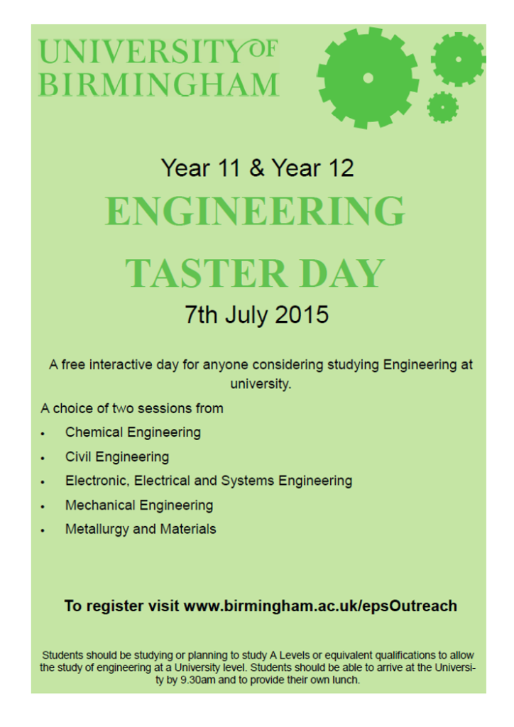 Birmingham engineering taster day