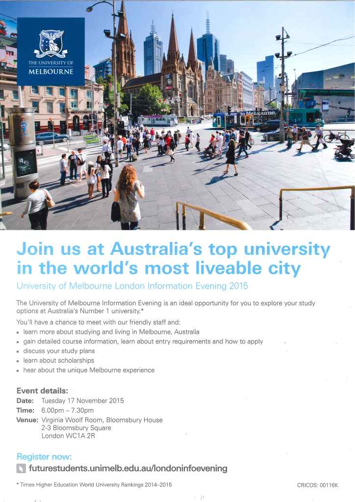 melbourne Uni Info Evening 2015