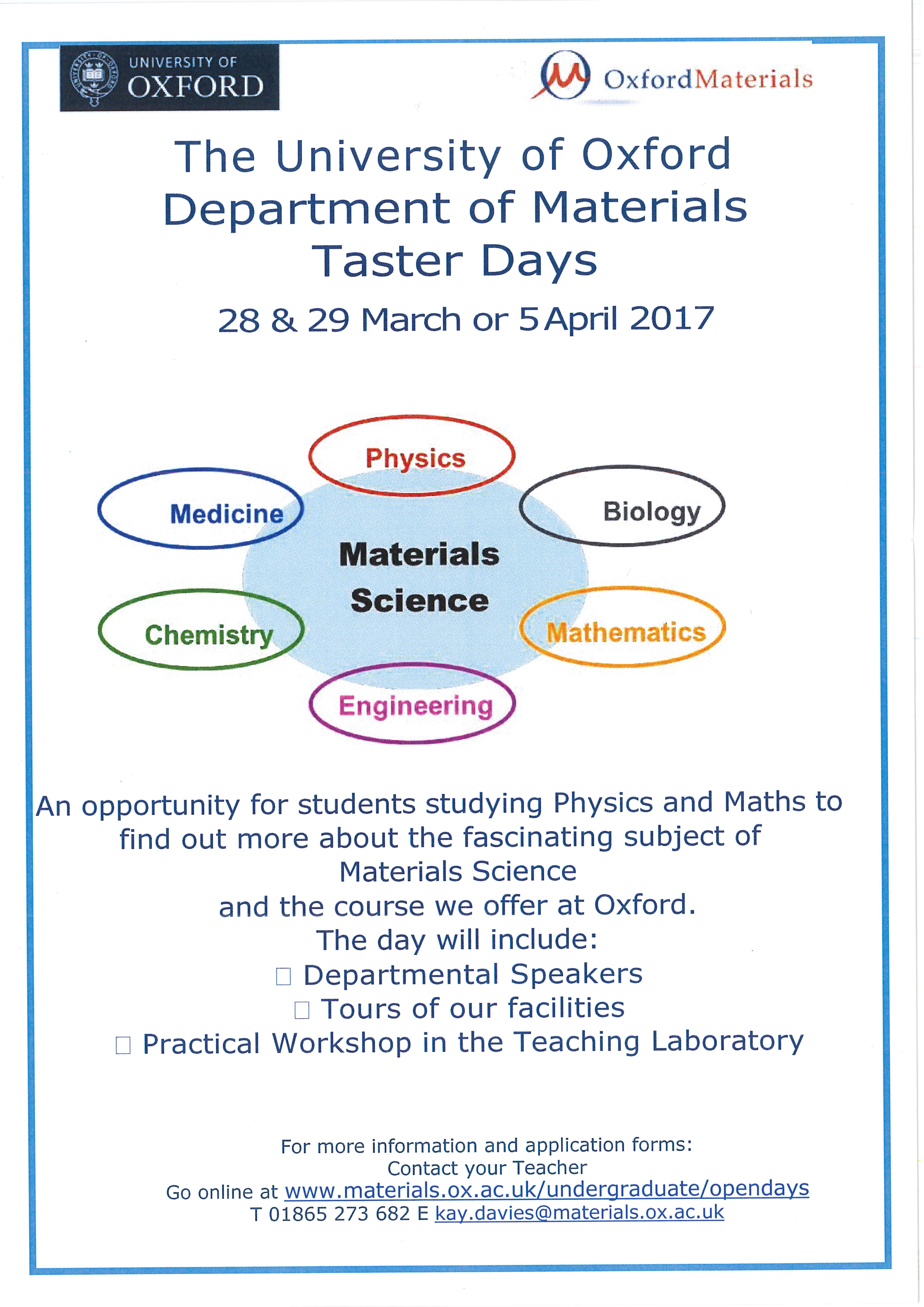 University of Oxford Department of Materials Taster Day