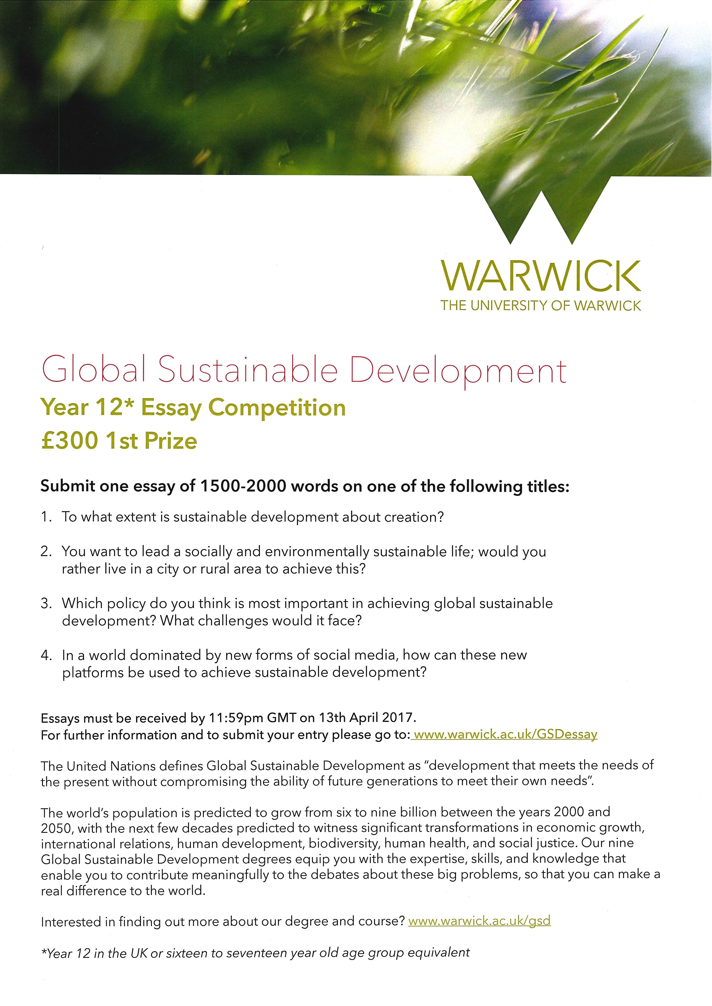 Essays For Money Global Sustainable Development Year  Ib Essay Competition From The  University Of Warwick  St Clares Careers Classroom Management Essay also Essay On My Favourite Food Global Sustainable Development Year  Ib Essay Competition From  Convincing Essay