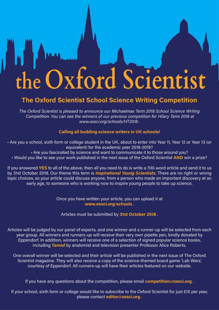The Oxford Scientist Science Writing Competition Autumn 2018 St